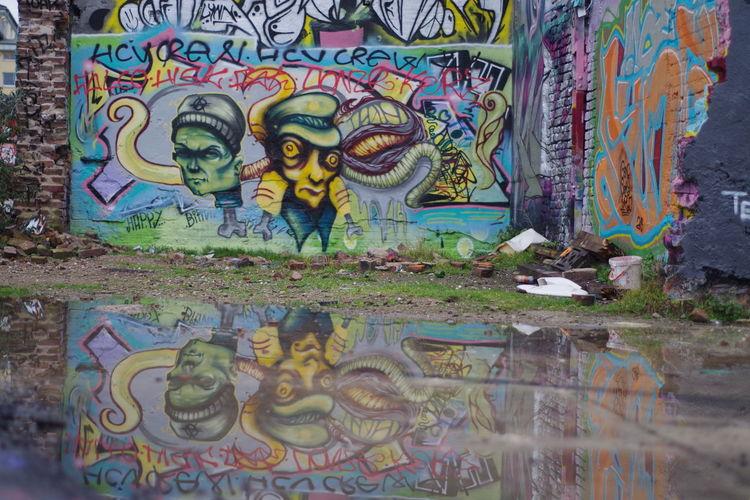 Graffiti on stone wall