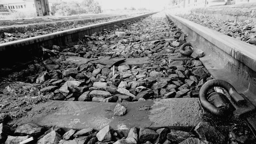 High angle view of railroad track amidst rocks