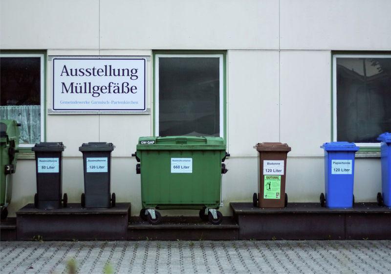 Architecture Built Structure Day Empty Garbage Bin Garmisch Garmisch-partenkirchen Information Information Sign No People Ordnung Outdoors Recycle Recycling Store Text