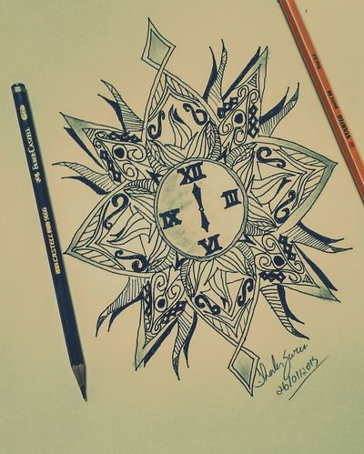 Drawing Sketch Tatoo Art Black & White Clock a tatoo design, because i control my own time