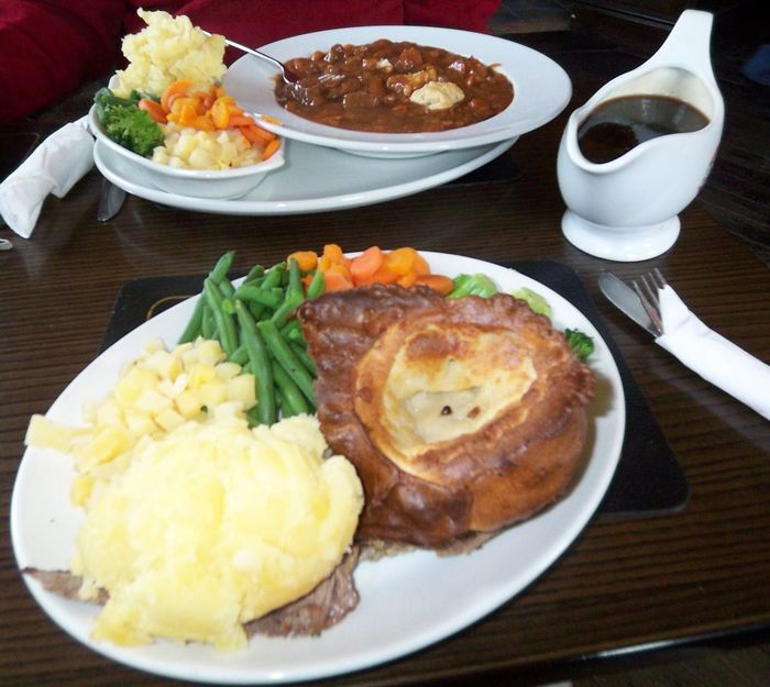 Proper Yorkshire dinner Dinner Close-up Day Food Food And Drink Fork Freshness Healthy Eating High Angle View Indoors  Mashed Potatoes Meal Meat No People Plate Ready-to-eat Serving Size Table Yorkshire Pudding