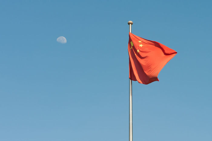 5 Stars Fl Blue Blue Sky Blue Sky Memories Chinese Flag Cultures Day Flag Low Angle View Moon Moon Moon Sky No People Outdoors Patriotism Red Sky