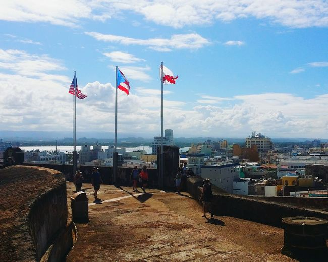 Flag Patriotism Cloud - Sky Sky Outdoors Day Historical Monuments Historical Place History Building Historic Watch Tower Fort Scenic Landscapes Castle Architecture Old Ruin Scenic History Blue Sky Puerto Rico Caribbean American Flag America Vacation waiting game My Year My View Miles Away
