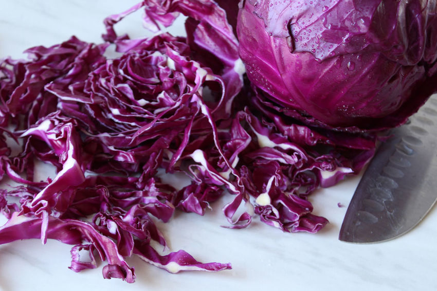 Red cabbage slaw Healthy Eating Raw Food Still Life Purple No People Vegetable Close-up Food Freshness Beauty In Nature Cabbage Studio Shot Vegetarian Food Focus On Foreground Red Cabbage Sliced Knife Preparation  Cooking Ingredient Marble