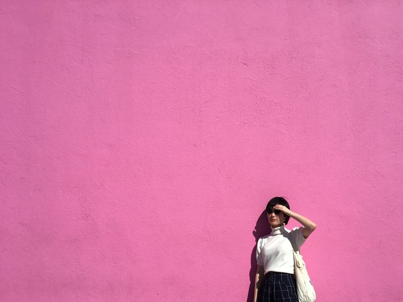 Pink Color Colored Background Pink Background Standing Young Women Outdoors Day Sunny Millennial Pink EyeEm EyeEmNewHere EyeEm Gallery Feminine  Millennial Pink ma friend 🌸 Fresh On Market 2017