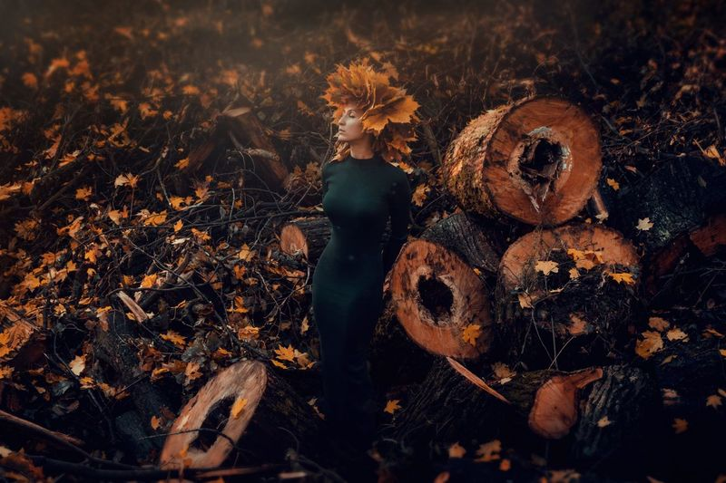 Young woman wearing autumn leaves while standing amidst logs in forest