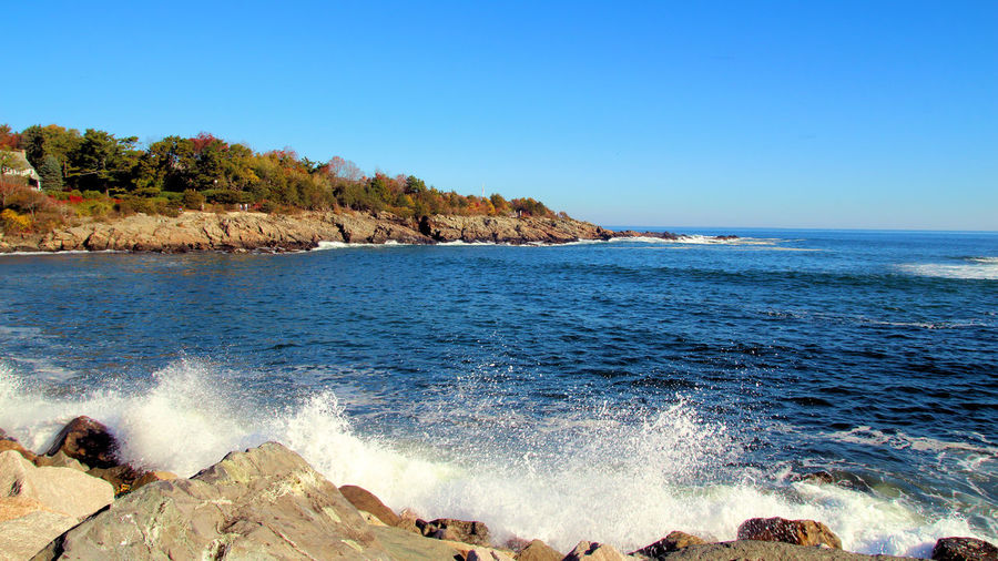 Beach Beauty In Nature Clear Sky Day Horizon Over Water Marginal Way Nature No People Outdoors Rock - Object Scenics Sea Water Wave