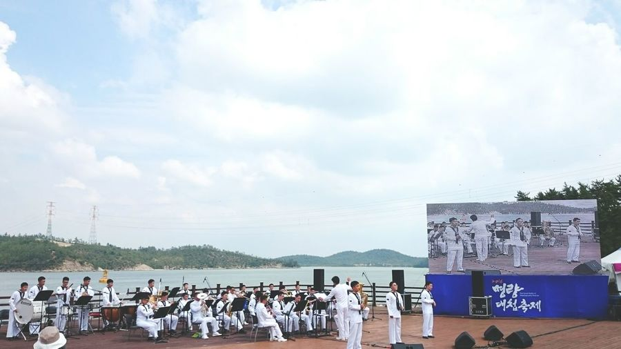 The great battle of Myeong-nyang festival. South Korea Gwangju Sea Sky