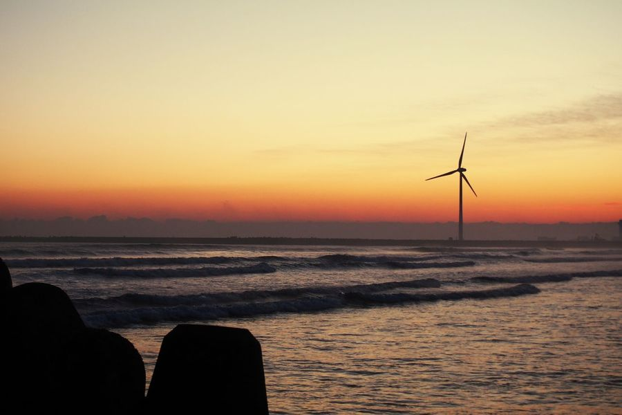 Wind Power Alternative Energy Wind Turbine Silhouette Sea No People Nature Beach Horizon Over Water Water Outdoors Sky