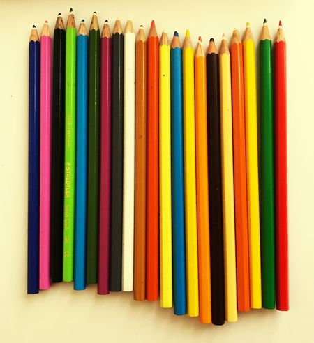 Colorful pencils on a white paper White Paper Colorful White Background Objects Work Writing Multi Colored Side By Side Pencil Variation Choice Indoors  Still Life Arrangement Writing Instrument Colored Pencil No People Large Group Of Objects Studio Shot In A Row Art And Craft High Angle View Close-up Creativity Group Of Objects
