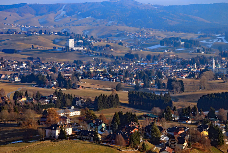 panorama of the city of Asiago in Northern Italy Highland Ossario Panorama Scenes Winterurlaub  Asiago Highland Beauty In Nature Day Italy Landscape Mountain Mountain Range Mountains Outdoors Scenery Sette Comuni Sky Town Travel Destinations Vicenza