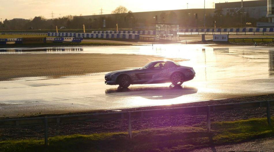 Car Evening High Angle View Mercedes Benz SLS AMG Mercedes-Benz Speed Speedway Sun