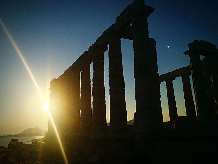 Last photo from Greece . Sunset over the Ocean at Sounion . It is a Poseidon Temple , more than 2000 Yers Old .