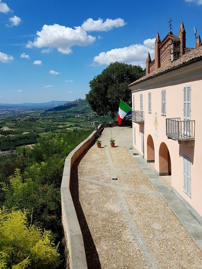 Outdoors Day Tree Sky No People Architecture Nature Castello Di Magliano Alfieri Langhe Piedmont Italy Travel Destinations Scenics Point Of View Cloud - Sky Freshness Aerial View From Top To Valley