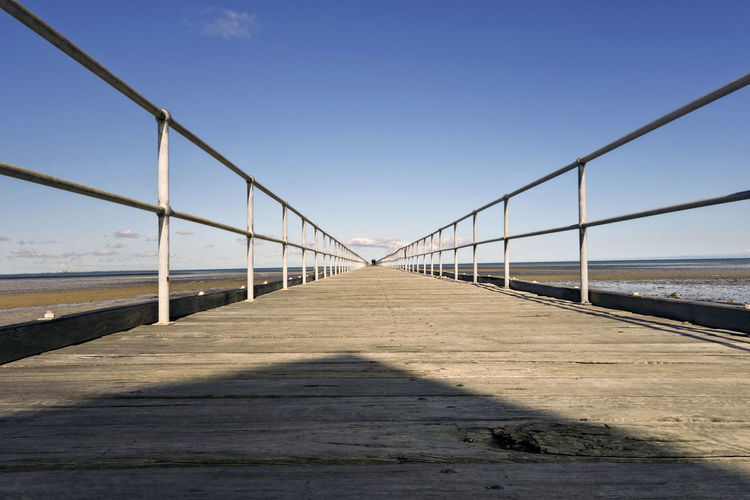 Jetty. Australia Architecture Bridge Bridge - Man Made Structure Built Structure Clear Sky Connection Day Diminishing Perspective Direction Jetty Land Long Nature No People Outdoors Railing Sea Sky Sunlight Surface Level The Way Forward Transportation vanishing point Water