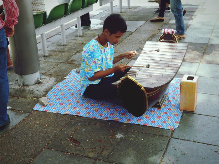 Streetphotography:Musician, Casual Clothing Outdoors Day Playing Enjoyment Taking Photo .