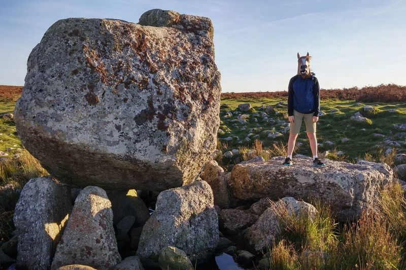 Full Length Standing Rock - Object Leisure Activity Lifestyles Men Casual Clothing Getting Away From It All Tranquility Geology Sky Nature Neolithic Neolithic Stones Nature Wales Horse Funny