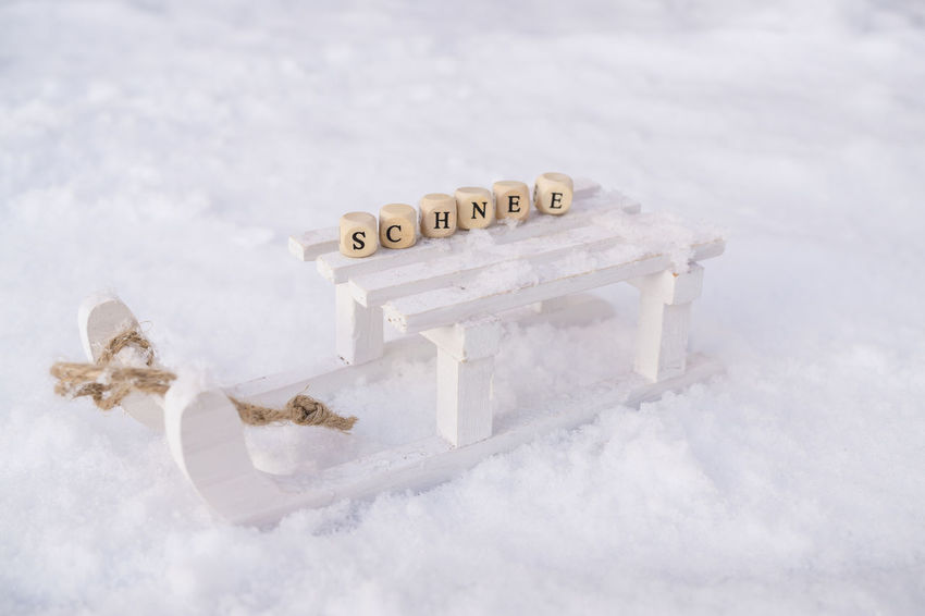 Christmas Sledge Sleigh Textured  Tradition Winter Sport Activity Close-up Cold Temperature Day Frozen Germany Leisure Leisure Activity Message Nature No People Outdoor Outdoors Season  Snow Sports Text White Color Winter