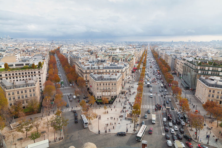 High angle view of paris from arc de triomphe