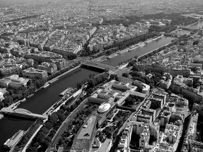 Aerial View Architecture Blackandwhite Blackandwhite Photography Bridge Bridge - Man Made Structure Building Exterior Built Structure City Cityscape Day High Angle View No People Outdoors River Road Skyscraper Transportation Travel Destinations View From Eiffel Tower Water