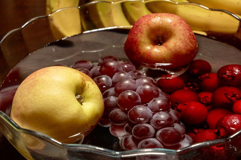 Fruits Fruit Food Food And Drink Healthy Eating Wellbeing Freshness Close-up Red Still Life Indoors  Container Yellow Apple - Fruit Healthy Lifestyle High Angle View Group Of Objects