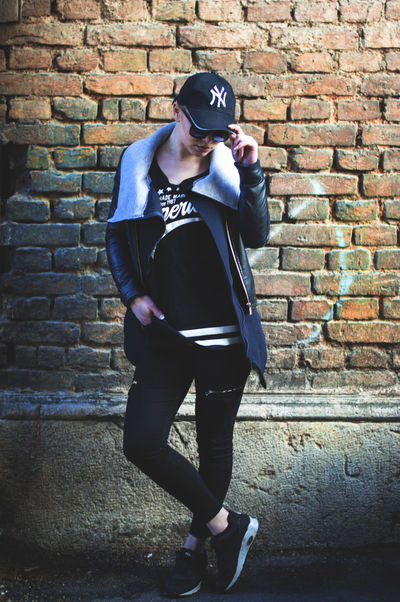 Beauty Black Brick Wall Bricks City Clothes Concrete Jungle EyeEm Best Edits EyeEm Best Shots Fashion Fashion Photography Female Girl Model Outfit Portrait Portrait Photography Posing Retro Street Fashion Urban Vintage Washed Out Week On Eyeem Young