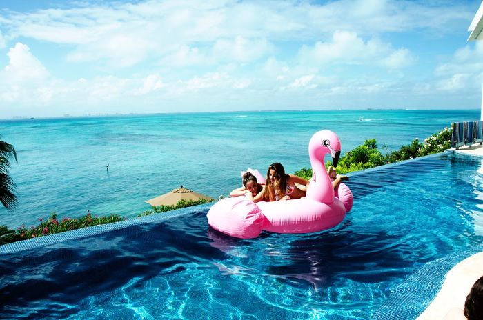 Day Sea Water Isla Mujeres Two People Pool Raft Friendship Beauty In Nature Cancun ✌ Tranquility Enjoyment Happiness Bikini Beach