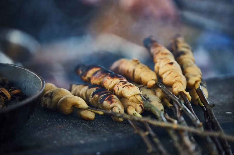 Outdoors Nordic Food Fire Selective Focus Freshness Skewer Preparing Food Barbecue Day Preparation  Still Life