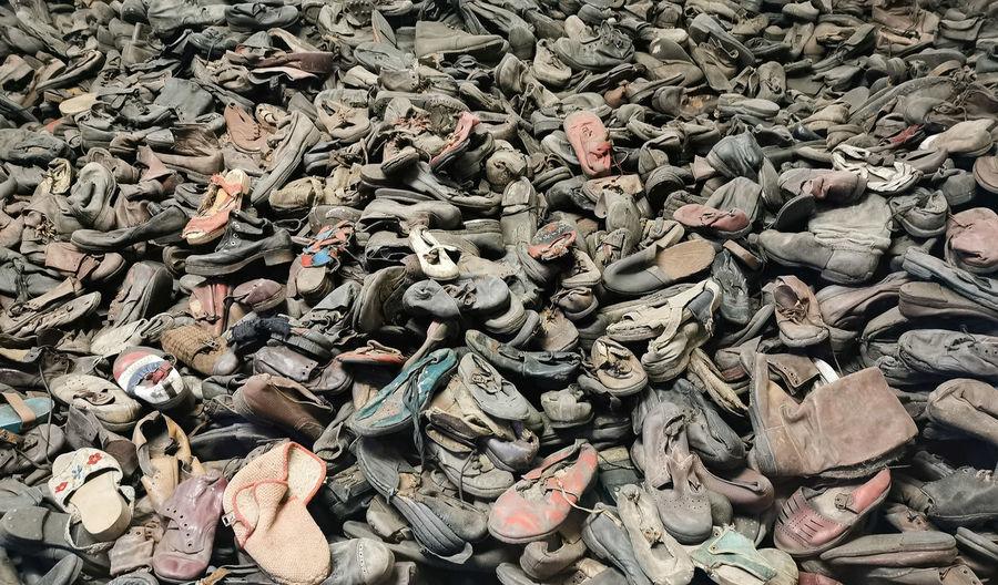 Shoes of murdered children in auschwitz