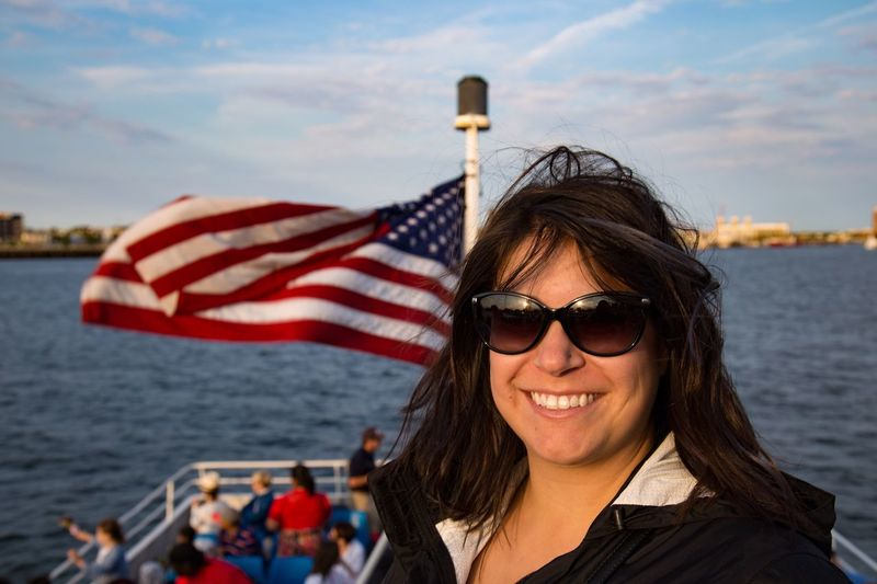 Beauty in Boston Harbor Patriotism Real People Stars And Stripes Portrait Boat First Eyeem Photo