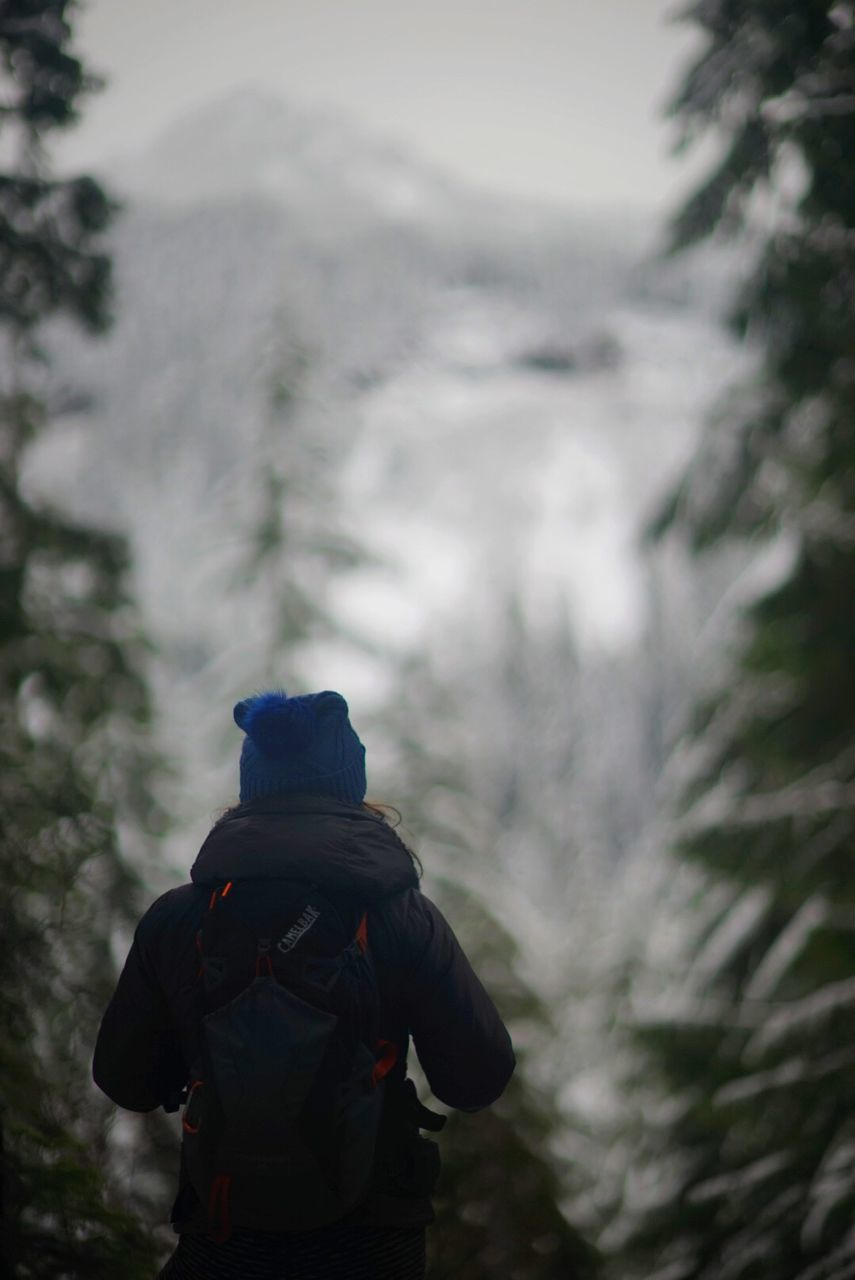 rear view, real people, backpack, one person, lifestyles, leisure activity, walking, men, nature, tree, outdoors, winter, focus on foreground, hiking, day, adventure, cold temperature, women, standing, full length, water, beauty in nature, warm clothing, people