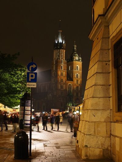 Architecture Building Exterior Church City Cracow Illuminated Mariacki Mariackichurch Night Old Town Outdoors People Religion Sky Spirituality Travel Destinations