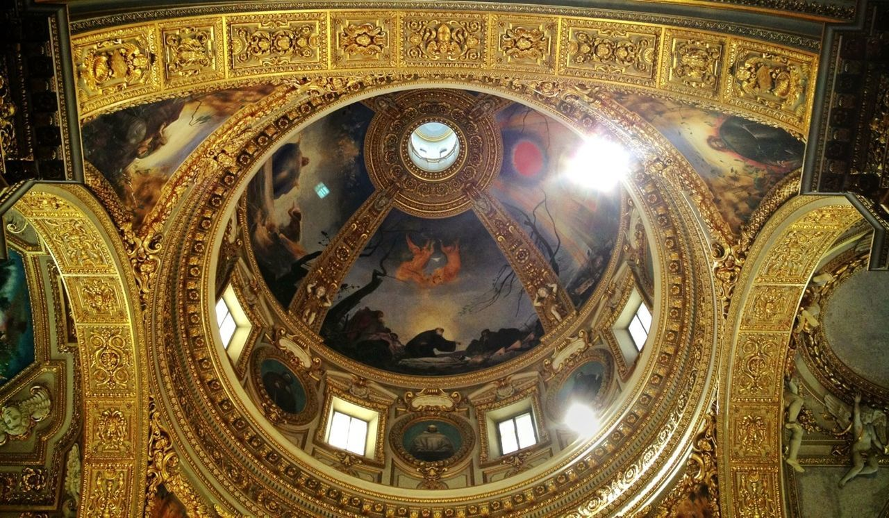architecture, dome, indoors, built structure, low angle view, place of worship, ornate, fresco, religion, history, travel destinations, no people, cupola, illuminated, day, close-up