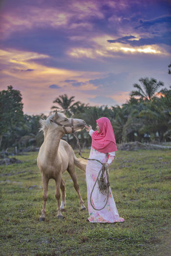Girl with horse on field against sky during sunset