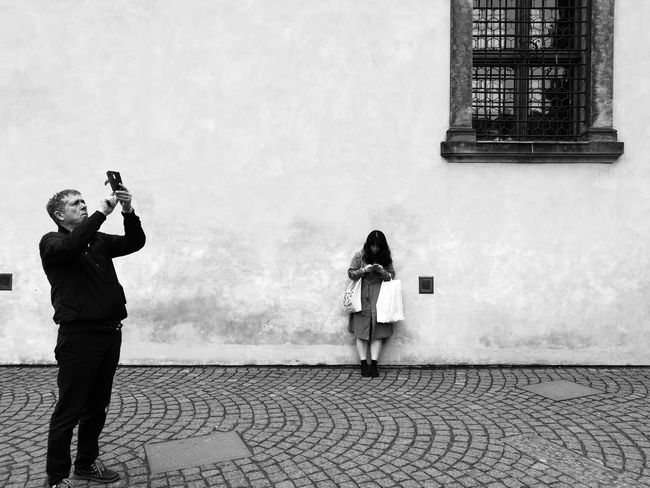 The Street Photographer - 2017 EyeEm Awards Praha ❤️ Mobilephotography Mobile Phone Mobile_photographer Street Photography Mobile Photography Streetphotography HuaweiP9 Outdoors People Huawei Black And White