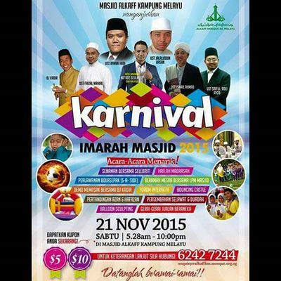 besok sape free turun ke Masjid Alkaff Kampung Melayu di Bedok Reservoir... 530am-10pm.. Gojer Letsgo Mustgo Imarahmasjid2015