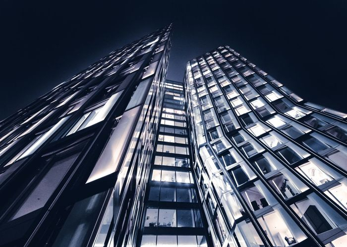 Tanzenden Türme (Dancing Towers) Architecture Built Structure Low Angle View Skyscraper City Building Exterior Modern Night Sky Tall Outdoors Growth No People Cityscape