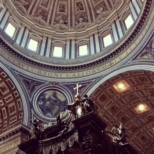 #Basilica #cross #detail #inside #stpetersburg #santpetersburg Architectural Design Architectural Feature Architecture Architecture And Art Built Structure Ceiling Cultures Cupola Day Dome Fresco History Indoors  Low Angle View No People Pattern Place Of Worship Religion Travel Travel Destinations
