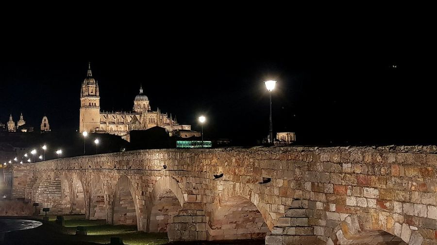 Roman Bridge Roman Bridge Salamanca Two Cathedrals Beautyful Night Beautiful City Woderful_places Wonder City Wonder Place Night Illuminated No People History Outdoors Architecture City Sky