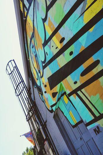 graffiti art downtown Bright Colors Downtown District Downtown Building Graffiti Art Doorway Wall - Building Feature Close-up Sky Architecture Built Structure Building Exterior Modern Art