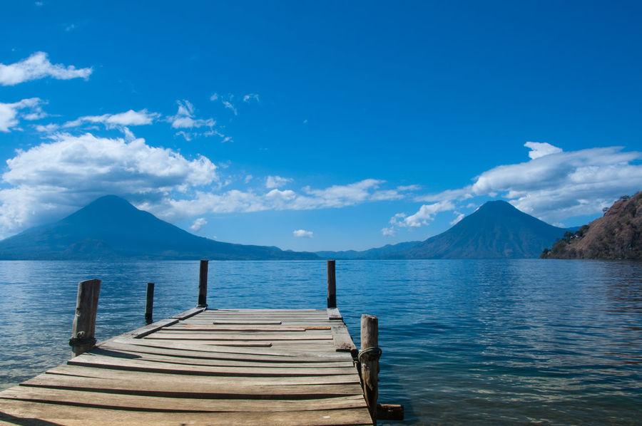 lake Atitlán Lake View Lake Atitlán Atitlan Lake Volcanic Landscape Volcano Mountain Blue Landscape Sea Scenics Water No People Cloud - Sky Outdoors Tranquility Nature Sky