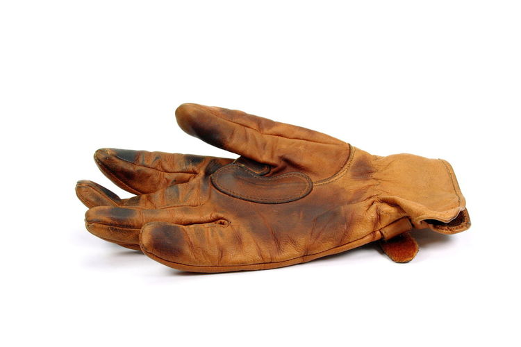 Leather Brown Close-up Glove Indoors  No People Old Glove, Studio Shot Used Glove White Background
