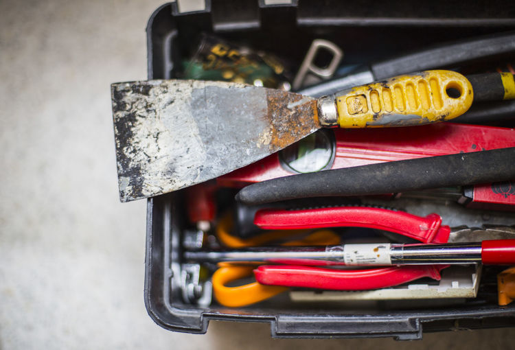 High angle view of toolbox