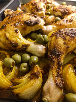 A Moroccan chicken with onions and olives Chicken Chicken Meat Close-up Dinner Food Food And Drink Ready-to-eat Roast Chicken Roasted Vegetable White Meat