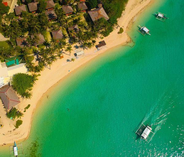 Aerial view of tourist resort at beach