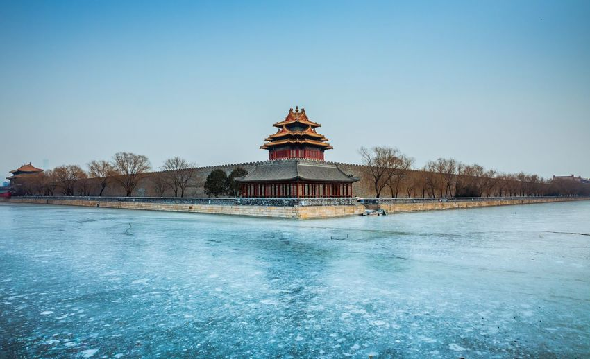 Beijing forbidden garden Architecture Sky Built Structure Building Exterior Clear Sky Water Nature Blue Day Waterfront Building Travel Destinations Religion No People Copy Space Tree Belief Outdoors Travel