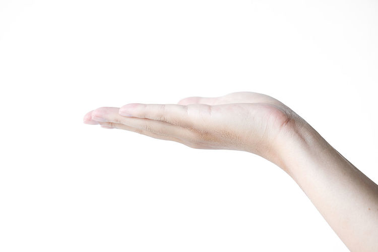 hand on a white