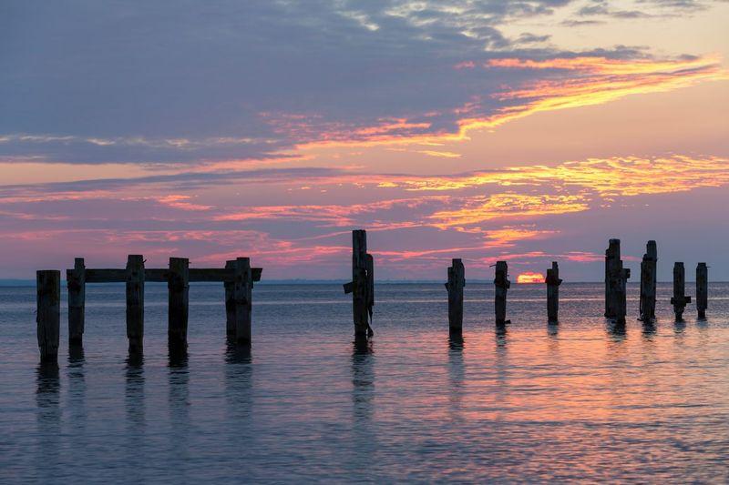 Rising Dorset England, UK Pier Ruins Seafront Sea Coastal Rising Sun Sunrise EyeEm Selects Nature EyeEm Nature Lover Seaside Holidays Seascape Timber Piles Water Sunset Reflection Sky Tide