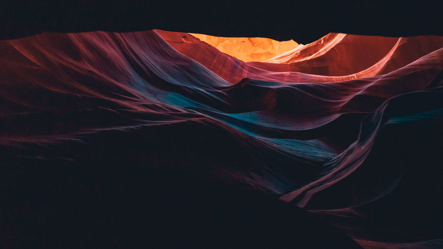 Upper Antelope Canyon, the place where water runs through rocks Pattern Beautiful Cave Red Antelope Upper Page Scenic USA View Shadow Navajo Wall Bright Yellow Blue Outdoors Color Silk Sandstone Arizona Sky Light Vibrant Stone Hiking Textured  Beauty Southwest  Background Desert Nature Colorful America Sand Panorama Canyon Travel Tourism Abstract Orange Landscape Slot Rock Curve West Striped Landmark Wallpaper Colors