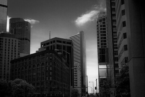 Apartment Architecture Blackandwhite Building Building Exterior Built Structure Capital Cities  City City Life Cityscape Cloud - Sky Day Modern No People Office Building Outdoors Sky Skyscraper Tall Tall - High Urban Skyline Street Photography Streetphotography Downtown Denver Colorado